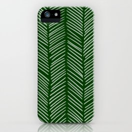 Forest Green Herringbone iPhone Case
