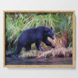 Call of the Salmon King - Fishing Black Bear Serving Tray