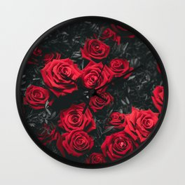 Red Roses (Color) Wall Clock