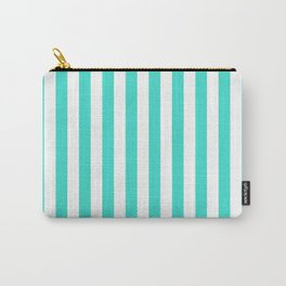 Vertical Stripes (Turquoise/White) Carry-All Pouch