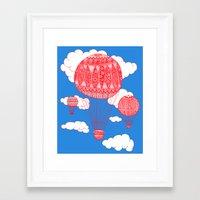 hot air balloon Framed Art Prints featuring Hot Air Balloon by lush tart