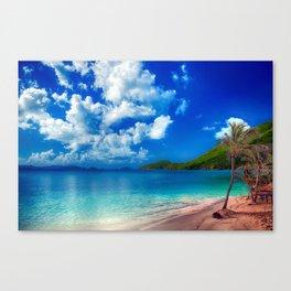 Deep Blue Tropical Island Bliss Canvas Print