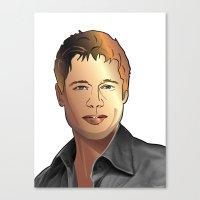 brad pitt Canvas Prints featuring Portrait of Brad Pitt by Christian Simonian