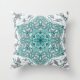 Woven Vines of Silver and Life Throw Pillow