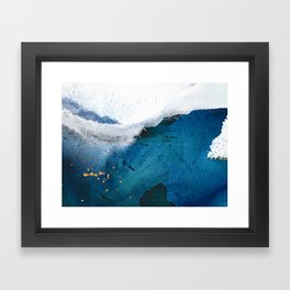 In the Surf: a vibrant minimal abstract painting in blues and gold Framed Art Print