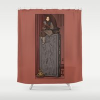hallion Shower Curtains featuring ....to find a way out! by Karen Hallion Illustrations