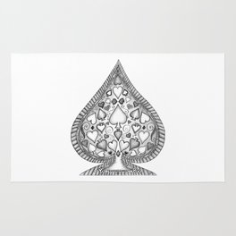 Ace of Spades Black and White Rug