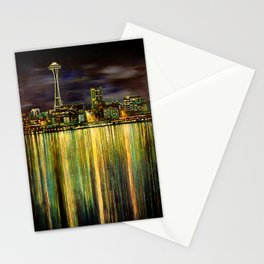 Seattle Night Skyline #3 Stationery Cards
