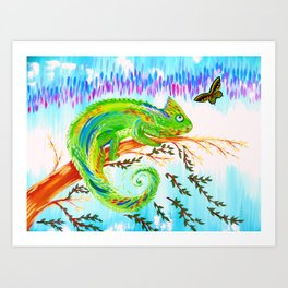 Chameleon and Butterfly Art Print