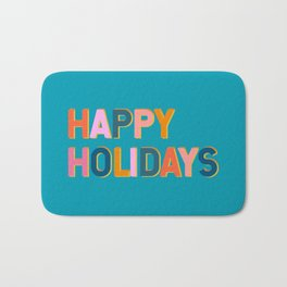 Colorful Happy Holidays Typography Bath Mat