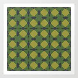 Breeze Block Shadows in Green Art Print