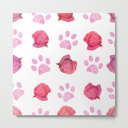 Doodle pink paw prints and hand drawn beautiful pink roses pattern Metal Print