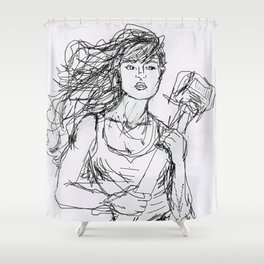 Under Construction by Abby Shepard Shower Curtain