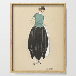 1920s Women's Fashion Plate - Ocean - Nautical Serving Tray