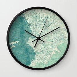 Marseille Map Blue Vintage Wall Clock