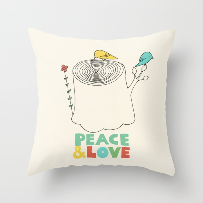 Peace Amp Love Throw Pillow By Opifan64 Society6