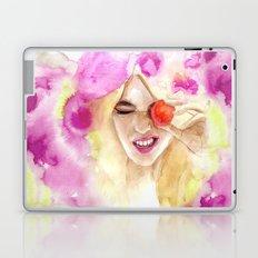 Watercolor girl with macaroon Laptop & iPad Skin