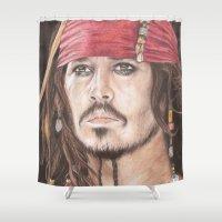jack sparrow Shower Curtains featuring Captain Jack Sparrow by JadeJonesArt