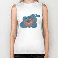 otters Biker Tanks featuring Underwater Otters by Amarie