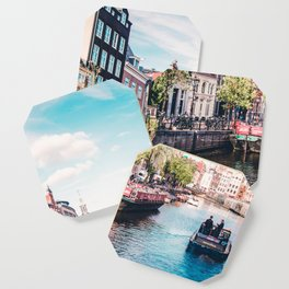 Colorful Amsterdam Canals | Europe Travel City Urban Landscape Photography Coaster