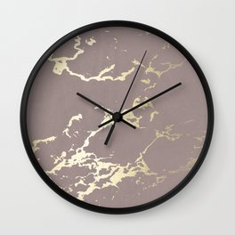Kintsugi Ceramic Gold on Red Earth Wall Clock