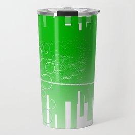 Abstract Green Guitar City Travel Mug