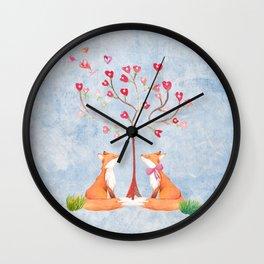 Fox love- foxes animal nature _ Watercolor illustration Wall Clock