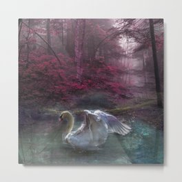 Fantasy Swan Metal Print