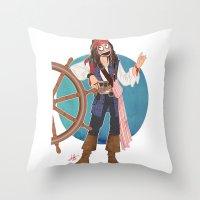 jack sparrow Throw Pillows featuring Captain Jack Sparrow by Lili's Damn Fine Shop