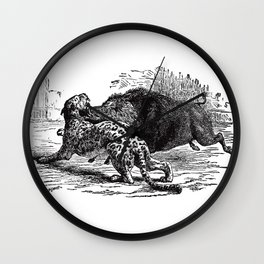Cheetah v. Boar Wall Clock