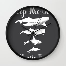 Keep The Sea Plastic Free Whale Dolphin Gift Wall Clock
