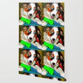 australian shepherd aussie dog puppy vector art Wallpaper