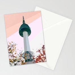 Geometric N Seoul Tower, South Korea Stationery Cards