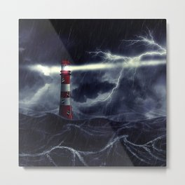 Stormy Sea and Lighthouse Metal Print