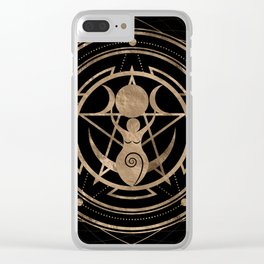 Triple Moon - Goddess -Black and Gold Clear iPhone Case