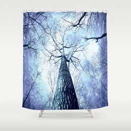 Wintry Trees Periwinkle Ice Blue Space Shower Curtain
