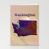 washington Stationery Cards featuring Washington Map by Roger Wedegis