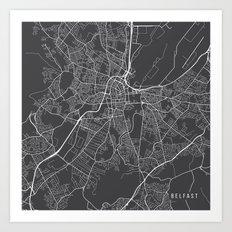 Belfast Map, Northern Ireland - Gray Art Print