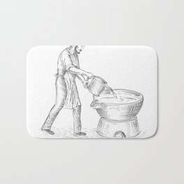 Vintage Candlemaker Foundry Drawing Bath Mat