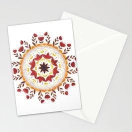 Autumn Folk Mandala White Stationery Cards