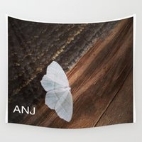 moth Wall Tapestries featuring White Moth by ANoelleJay