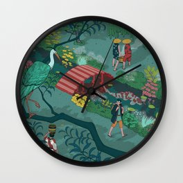 Ukiyo-e tale: The beginning of the trip Wall Clock