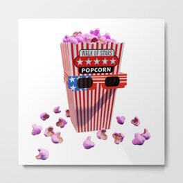 Pink Candy Popcorn and 3D Movie glasses Metal Print