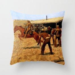 """Frederic Remington Western Art """"Pony Express"""" Throw Pillow"""