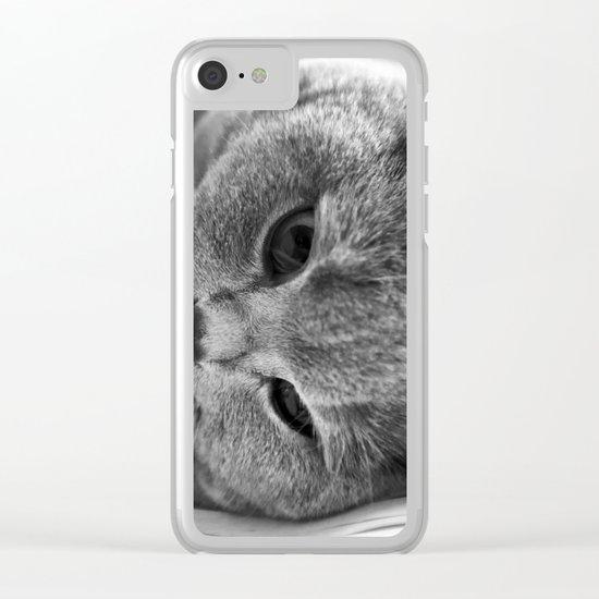 Cat Black white 3 Clear iPhone Case