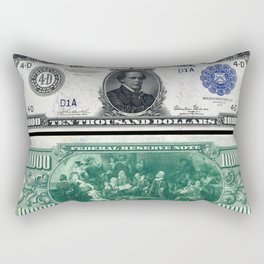 1918 $10,000 U.S. Federal Reserve Chase Bank Note Rectangular Pillow