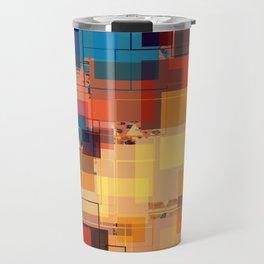 Multi color Square Geometrical Overlays Travel Mug