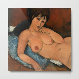 "Amedeo Modigliani ""Nude on a Blue Cushion"" Metal Print"