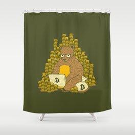 bitcoin miner tshirt bear shower curtain