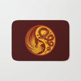 Yellow and Red Dragon Phoenix Yin Yang Bath Mat